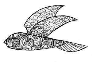 bird doodle b&w