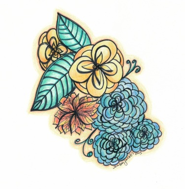 Floral Ink Colored Pencil 1