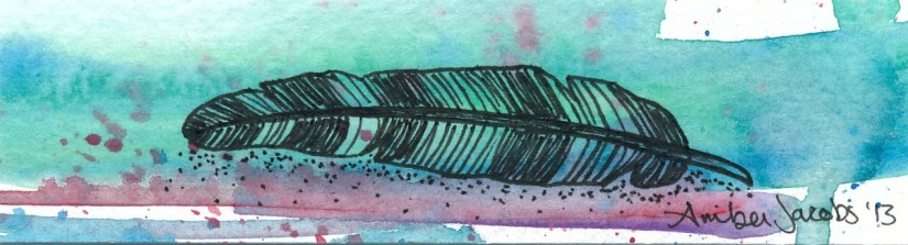 Watercolor and Ink Feather