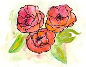 watercolor flower trio