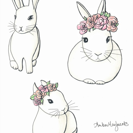 Bunny sketches inked colored EDITED