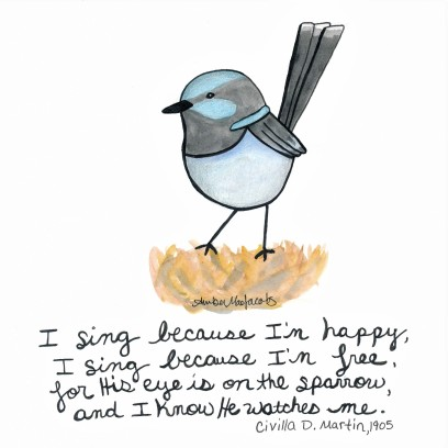 Bird his eye is on the sparrow