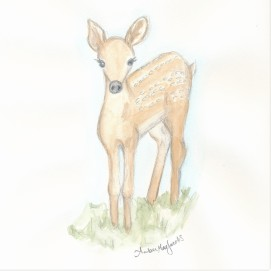 baby deer watercolor